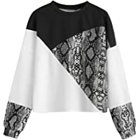 TIFENNY New Women's Long Sleeve Color Block Snake Print Patchwork Crewneck Pullover Sweatshirt Tops Blouse