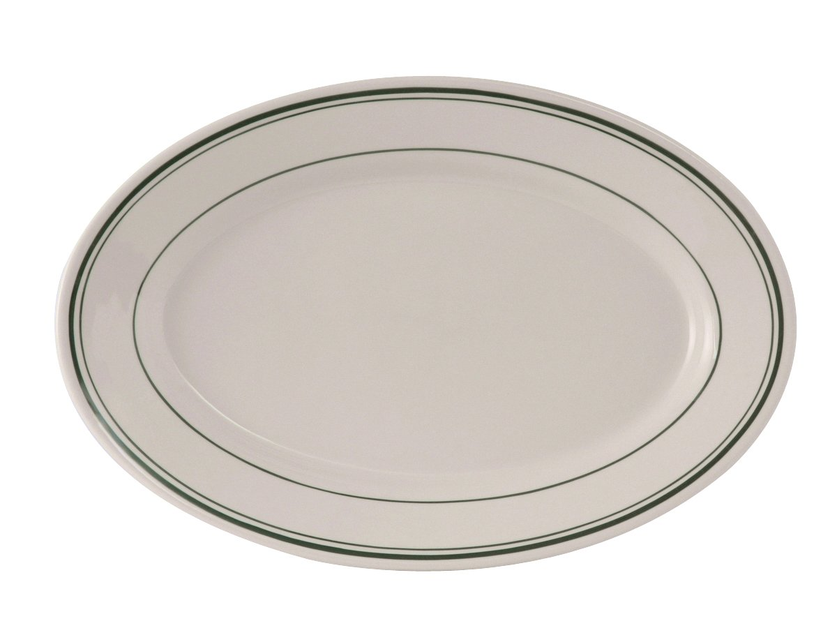 """Tuxton TGB-042 Vitrified China Green Bay Oval Platter, Rounded Edge, 15-3/4"""" x 11"""", Eggshell with Green Band and Line (Pack of 6),"""