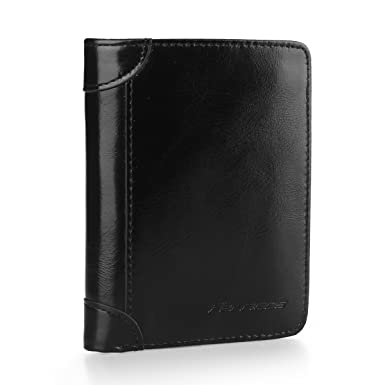 560e53dd257ae Ferricos RFID Men Cowhide Leather Portrait Short Purse Extra Capacity  Trifold Inner Pocket Wallet Card Case