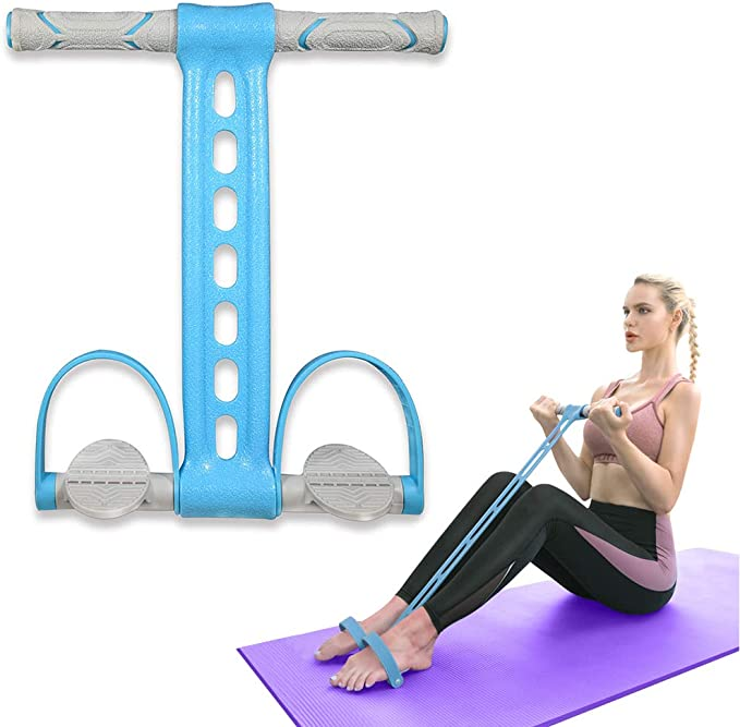 Blue *DC 8-Loop Elastic Yoga Pull Strap Stretch Band Fitness Resistance Bands
