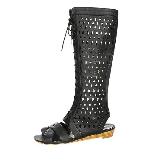 MissSaSa Donna Stivali estive Black Moda  Amazon.it  Scarpe e borse 5c35d57cc89
