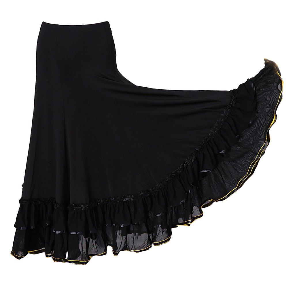 IPOTCH Jupe de Danse Flamenco Jupe Longue avec Broderies Florales Jupe De Danseur pour Tango