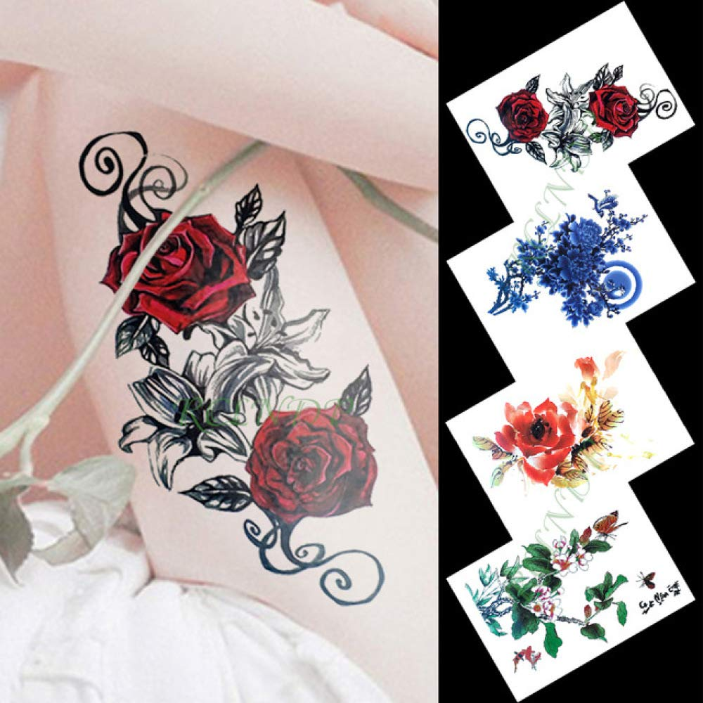 Etiqueta engomada del Tatuaje Temporal Impermeable Ojo Flor de ...