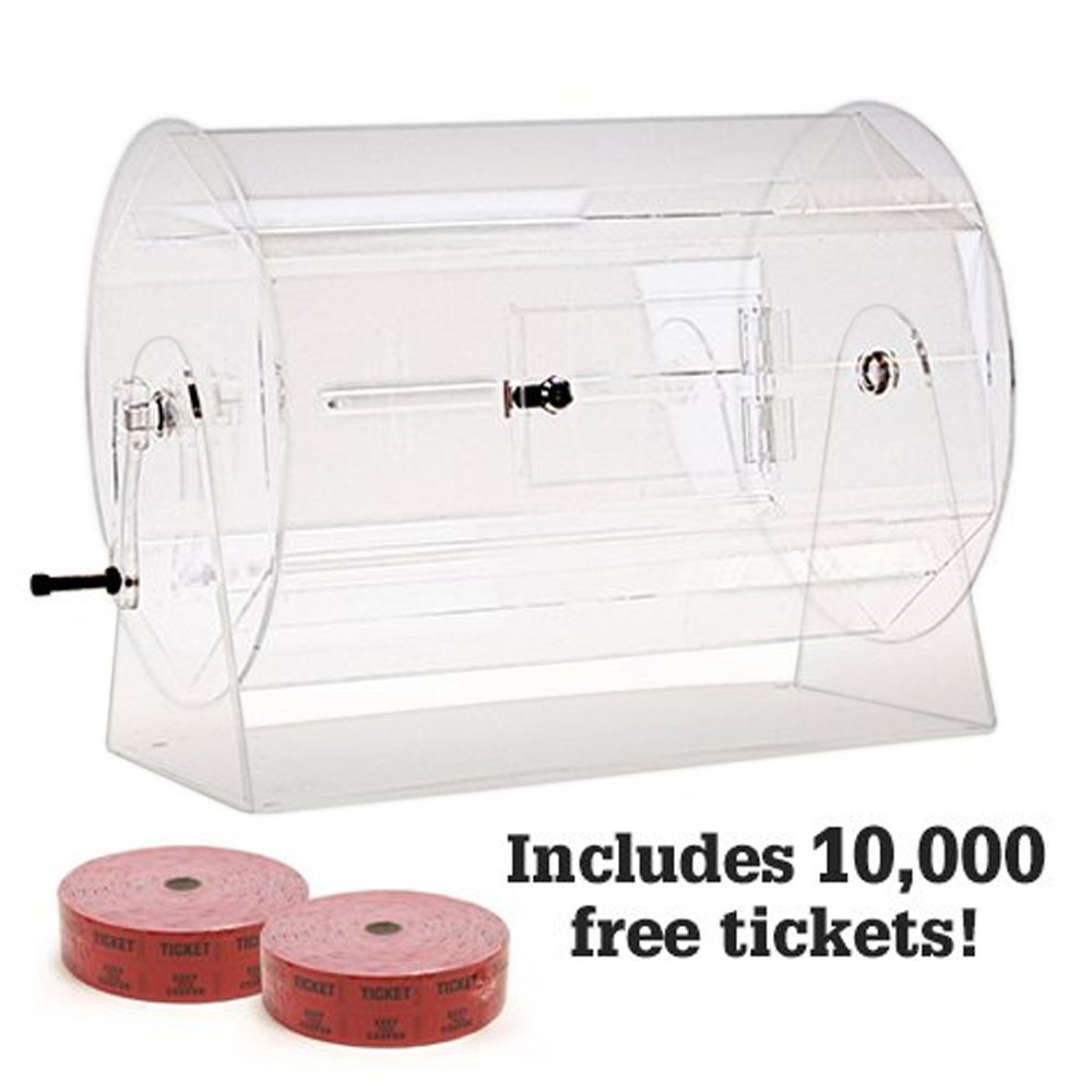 Large Acrylic Raffle Drum w/10,000 Free Tickets by Midway Monsters