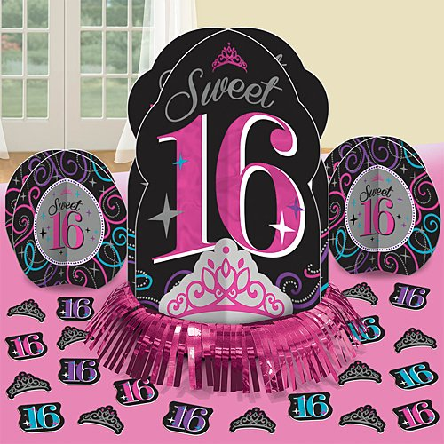 Elegant Sweet Sixteen Celebration Table Decorating Kit Birthday Party Decorations (23 Pack), Multi Color, 12 3/4