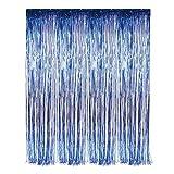 neon blue streamer - Blue Foil Fringe Curtain -3' X 8' (36
