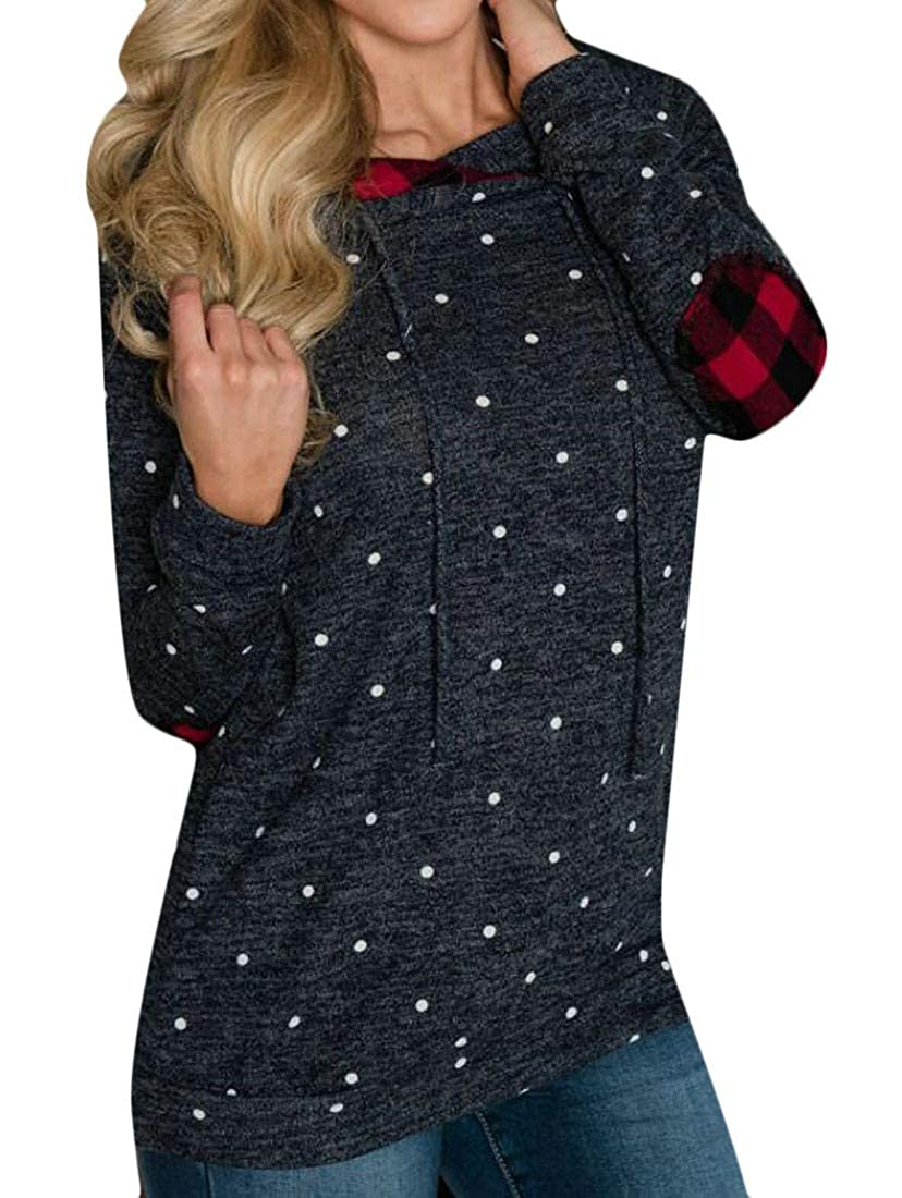 Etecredpow Womens Polka Dot Print Hooded Pullover Contrast Color Elbow Patch Sweatshirt