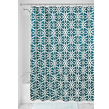 InterDesign Adele Fabric Shower Curtain - 72  X 72 , Teal/Sage