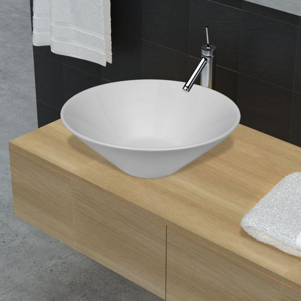 Bathroom Sink Porcelain Ceramic Sink Art Basin Bowl White Sink Size 16.5'' x 5.5'' (Diam. x H) Practical Vessel for Everyday Use by Chloe Rossetti