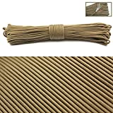PSKOOK 550 Paracord Survival Fire Parachute Cord Outdoor Military Grade Waxed Flax Tinder Fishing Line Cotton Thread 100 Feet