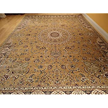 Large rug persian silk gold rug 8x12 gold rugs - Gold rug for living room ...