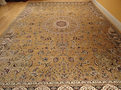 Persian Silk Brand Gold Rug Multiple Size Rugs 7x10 Beige Rugs Living Room Area Rugs Silk 6x9 Gold Beige Luxury Area Rugs Dining Room Rug (Large 7'x10')