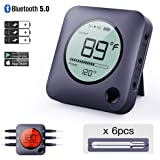 Bluetooth Meat Thermometer Smart Wireless Remote Digital BBQ Thermometer APP Controlled with 6 Stainless Steel Probes, Large LCD Display for Cooking Smoker Grilling Oven