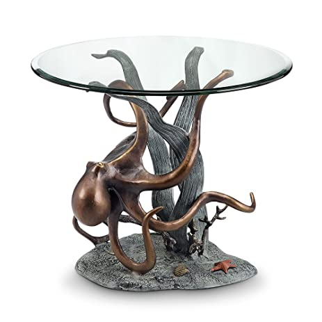 Spi Aluminum End Tables 34622 Spi Aluminum Octopus And Seagrass End Table  24 X 21.5 X