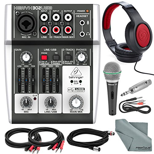(Behringer XENYX 302USB 5 Input Mixer and USB Interface & Platinum Bundle w/Microphone + Closed-Back Headphones + Cables + Adapter + Fibertique)
