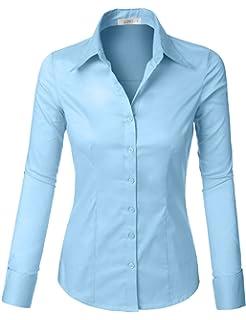 9e2ed9a8e22b4 Amazon.com  LE3NO Womens Roll Up 3 4 Sleeve Button Down Shirt with ...