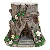 Exhart Large Tree Stump Fairy House Garden Statue, Solar Powered, Fairy Gardening, Resin, 16'' L x 14'' W x 15'' H