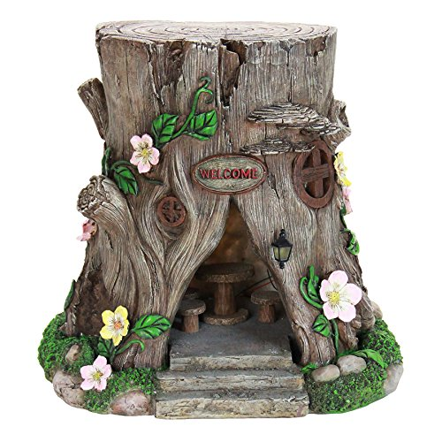 Exhart Large Tree Stump Fairy House Garden Statue, Solar Powered, Fairy Gardening, Resin, 16'' L x 14'' W x 15'' H by Exhart