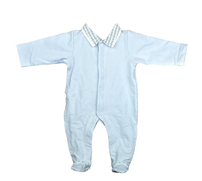 Pijama-buzo de primavera celeste con abertura delantera. Con cuadros vichy en el cuello