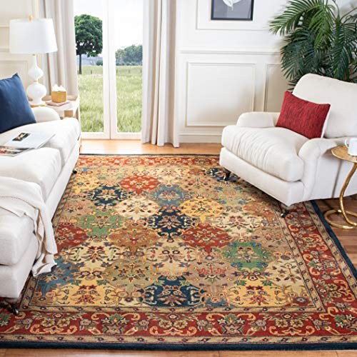 Safavieh Heritage Collection HG911A Handmade Traditional Oriental Multi and Burgundy Wool Area Rug (6' x 9')