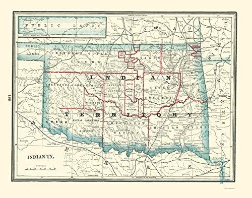 Old State Map - Oklahoma Indian Territory - Rathbun 1893 - 23 x 29.24 - Glossy Satin Paper ()