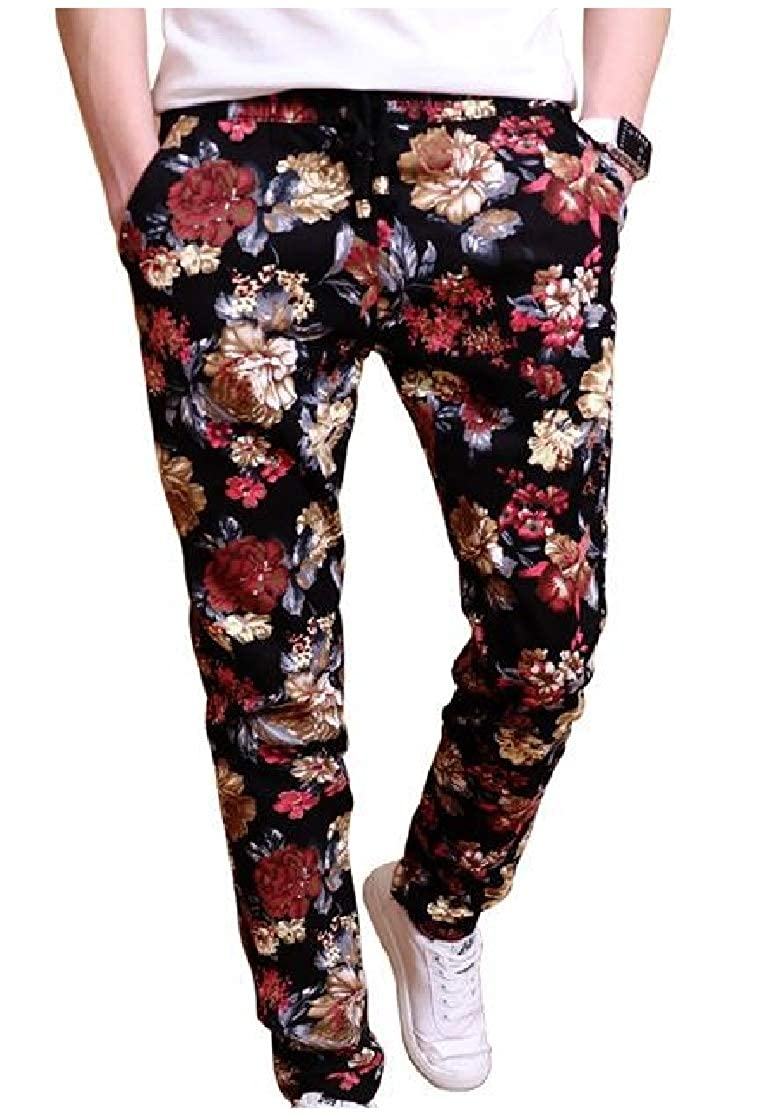 Comaba Men Floral Printing Harem Pants Silm Fit Low-Waist Chic Soft Casual-Pants