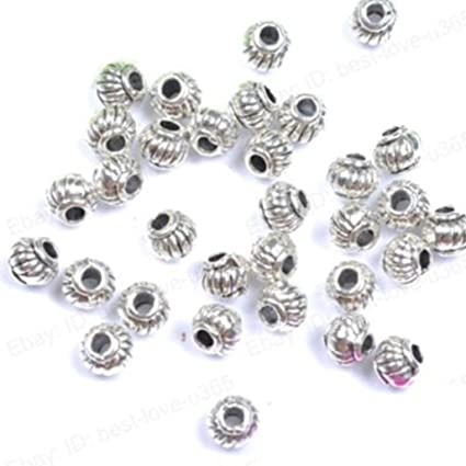 50//100pcs Silver Plated Loose Spacer Beads Charms Jewelry Making Findings DIY