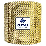 Gold Diamond Sparkling Rhinestone Bling Wrap Ribbon Bulk DIY Roll for Event Decorations, Wedding Cake, Bridal/Baby Shower, Birthdays, Arts & Crafts Vase & Party Decorations - 30 Ft - 1 Roll