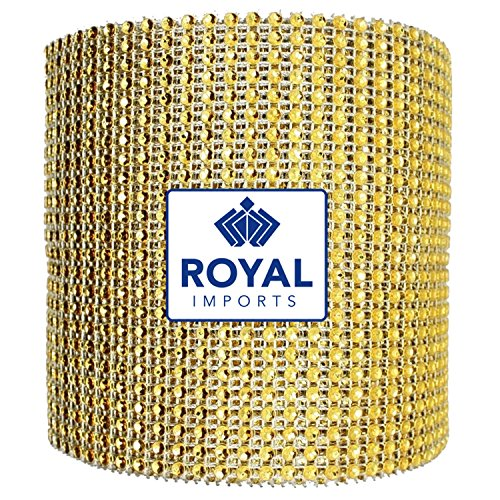 Gold Rhinestone Diamond Bling Wrap Ribbon for Wedding Cake, Party, Holiday & Home Decoration, 10 Yards by Royal Imports