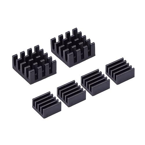 6 Piece Black Aluminum Heatsink Cooler Cooling Kit for Raspberry Pi 3,Pi 2,Pi Model B+