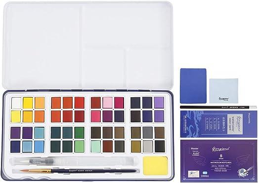 Comficent Set Acuarelas Bolsillo – Caja Pintura Acuarela 48 Medios Pastillas Pintura Sólida A Acquarello Caja Portátil: Amazon.es: Hogar