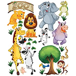 ZOO in a Tube DELUXE Animal Wall Decals for Nursery Kids Room, Made of Durable Repositionable Adhesive Fabric