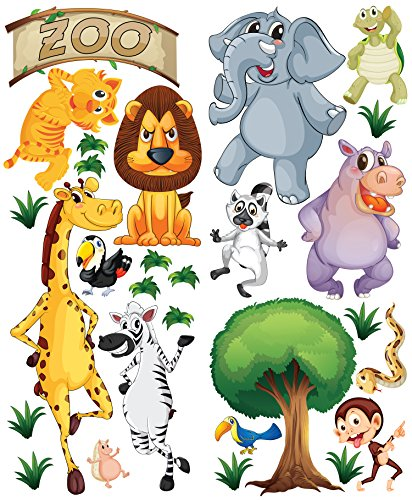 [ZOO in a Tube DELUXE Animal Wall Decals for Nursery Kids Room, Made of Durable Repositionable Adhesive] (Animals That Start With The Letter T)
