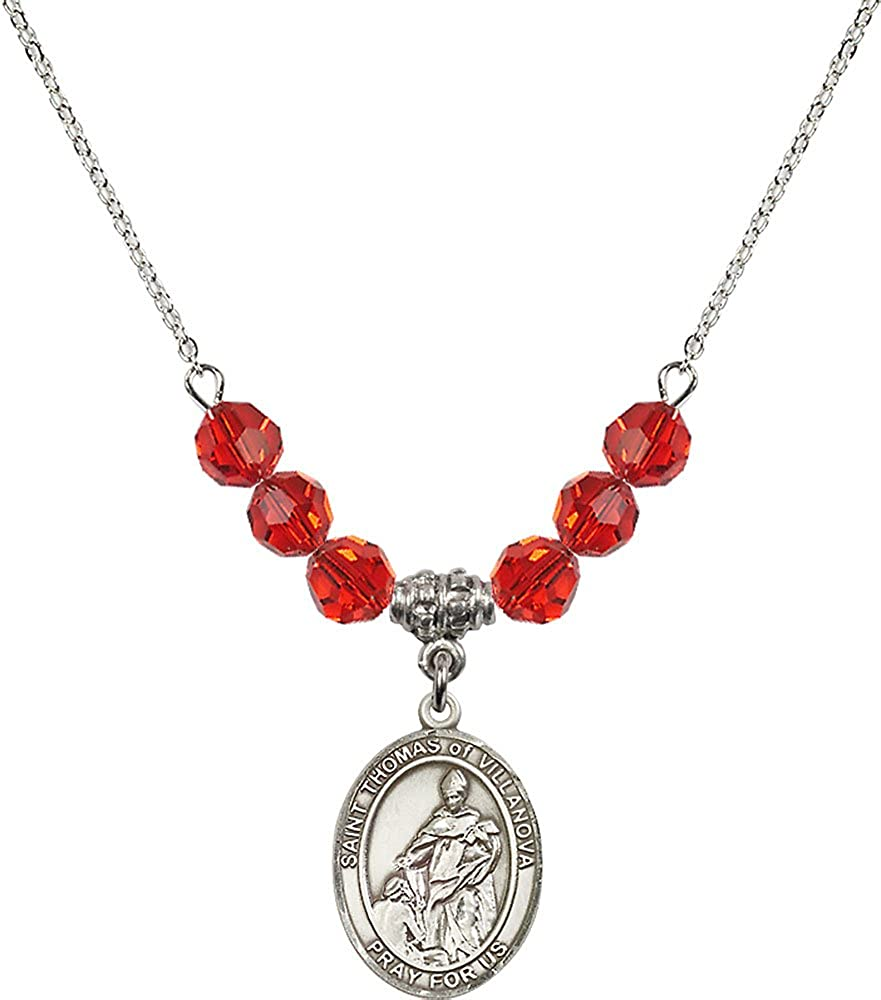 18-Inch Rhodium Plated Necklace with 6mm Ruby Birthstone Beads and Sterling Silver Saint Thomas of Villanova Charm.