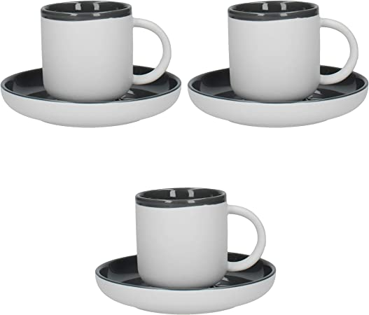 La Cafetière Barcelona Espresso Coffee Cups and Saucers Set, Ceramic, Cool Grey, 100 ml, Set of 3