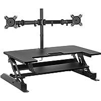 Mount-It! Conversor de escritorio de pie con soporte doble para monitor incluido - Escritorio de pie ajustable en altura…