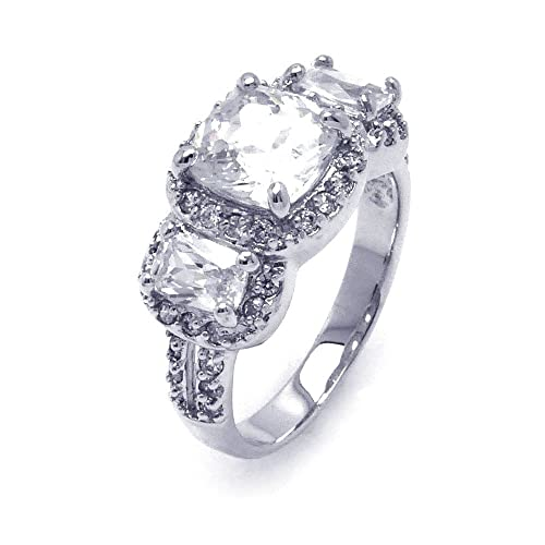 Princess Kylie Three Stone Set Square Cubic Zirconia Center Ring Rhodium Plated Sterling Silver