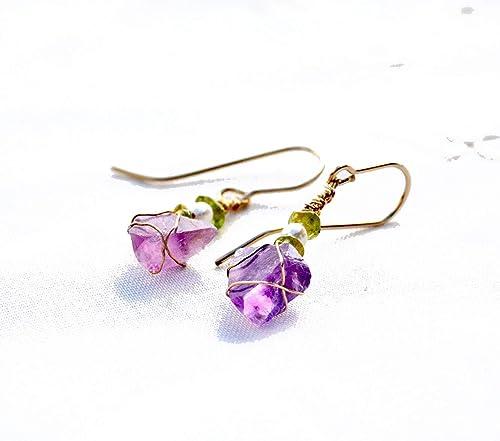 Handcrafted Jewelry Handmade Australia Handmade Jewellery Purple Irregular Natural Stone /& Teardrop Crystal Hoop Earrings Gift for her