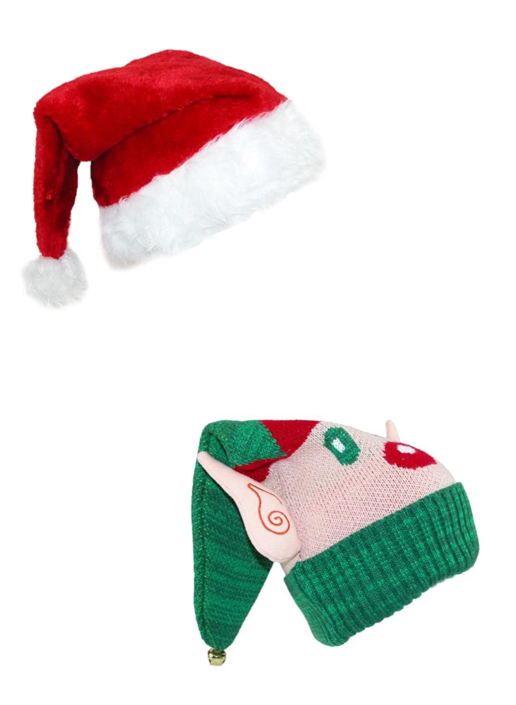 CTM® Santa and Elf Novelty Hats (Pack of 2) Red/Green JH-20407KIT2-RED