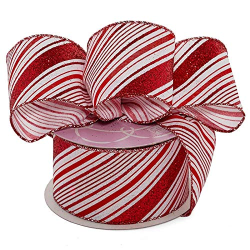 Stripe Yds Fabric (Candy Cane Wired Christmas Ribbon - 2 1/2