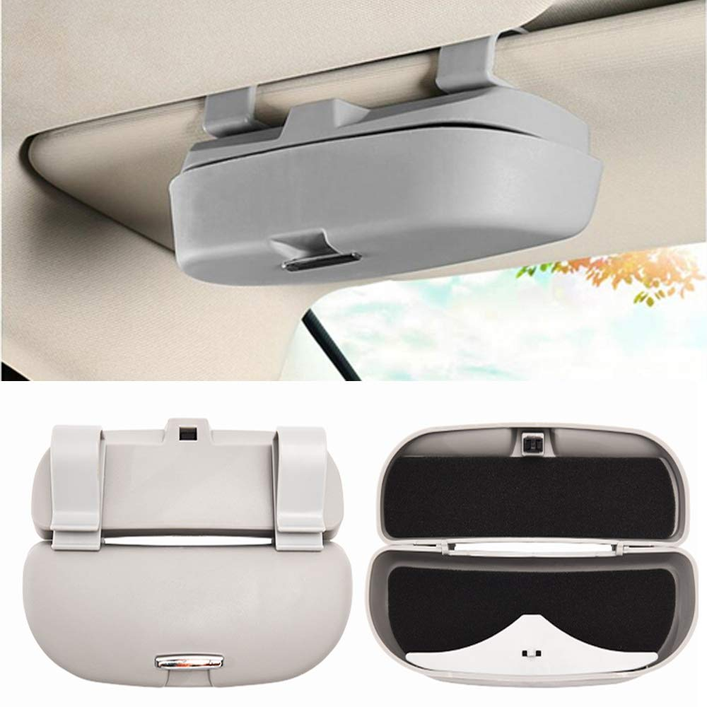 HOLDCY Car Glasses Holder Sun Visor Clip - Eye Sunglasses Storage Holder Box - Automotive Accessories ABS 1Pcs Apply to All Car Models (Gray) by HOLDCY