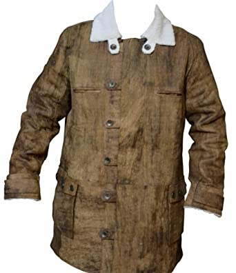 d71cff2f9a41 coolhides Men s Dark Knight Rises Real Distressed Leather Bane Coat Cow  Brown X-Small