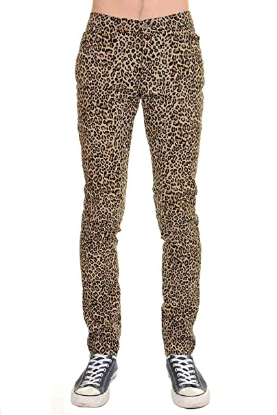 Mens Indie Hipster Punk Rock Leopard Stretch Skinny Jeans