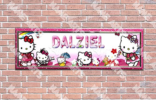 (Personalized / Customized Hello Kitty Name Poster with Frame - Home Wall Decor Birthday Party Door)