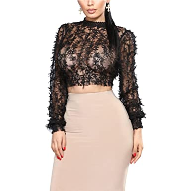 44e5616b26d7c Joseph Costume Womens Sexy See Through Mesh Long Sleeve Mock Neck Lace  Fitted Crop Top Blouses
