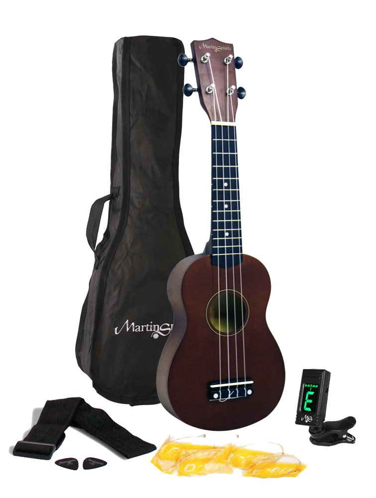 Martin Smith 312 Ukulele Starter Kit – Includes lessons, tuner, strap, spare strings and gig bag. Natura