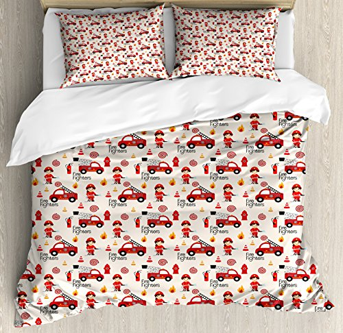King Size Duvet Cover Set, Little Boys and Girls in Uniforms Fire Fighters Theme Career Profession Pattern, Decorative 3 Piece Bedding Set with 2 Pillow Shams, Multicolor ()