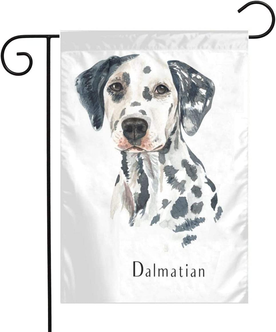 Watercolor Dalmatian Garden Flags Home Indoor & Outdoor Holiday Decorations,Waterproof Polyester Yard Decorative for Game Family Party Banner