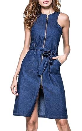 1d844c5ae4 Jaycargogo Women Sexy Sleeveless Bodycon Zip Slit Front Denim Midi Dress  Blue XXS