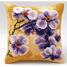 Lilac Orchids chunky cross stitch cushion front kit Vervaco (109) by Vervaco